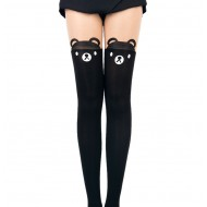 Stylish and Cute Animal Print-Tattoo Stockings: Black bear with nude top