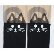 Stylish and Cute Animal Print-Tattoo Stockings: Cat with nude top