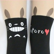 Stylish and Cute Animal Print-Tattoo Stockings: Totoro with nude top