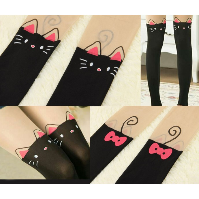 Cute Animal Print-Tattoo Stockings: Cat with nude top