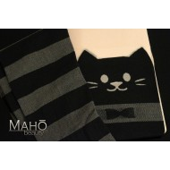 CUTE knee-high Print-Tattoo Stockings with nude top: CAT (NEKO) Kawaii Fashion Girls