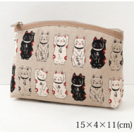 Lovely Made in Japan Maneki Neko Lucky Cat pouch