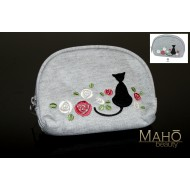 Lovely Kurochiku brand Kuro Neko Cat pouch cosmetic case