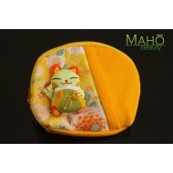 Lovely Japanese Maneki Neko Lucky Cat pouch with three dimensional cat motif: Size L