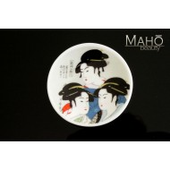 Unique Japanese design fridge magnet plate 52 mm Utamaro Three beauties