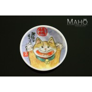 "Funny Japanese design fridge magnet plate 52 mm ""Happy cat"" Maneki neko"