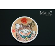 "Adorable Japanese design fridge magnet plate 52 mm ""Happy cat"" Maneki neko"