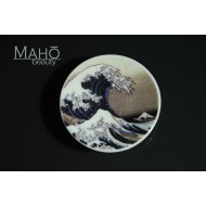 "Gorgeous Japanese design fridge magnet plate 52 mm ""Hokusai – The great wave"""