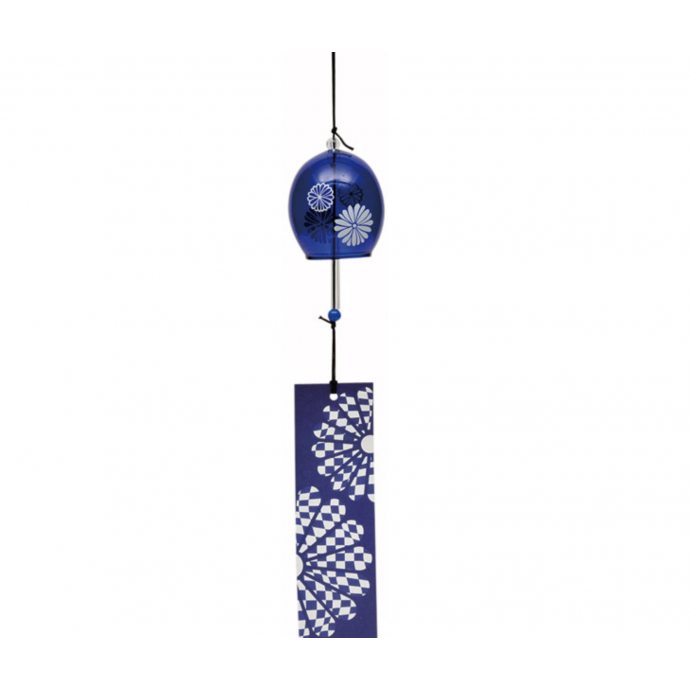 JAPANESE FURIN GLASS WIND CHIME - Charming and refreshing tinkle sound. Kiku blue 菊