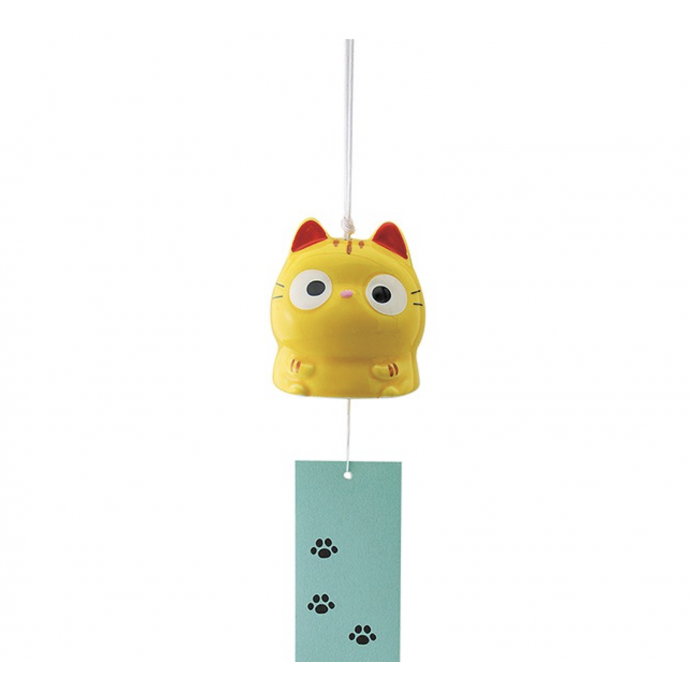 Japanese symbol of summer: Lovely Tora Neko Tiger cat wind chime FURIN