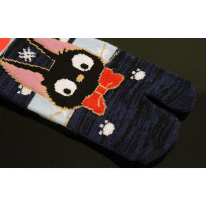 Cute Japanese style Tabi socks: KIKI'S DELIVERY SERVICE JIJI blue 23 to 25 cm