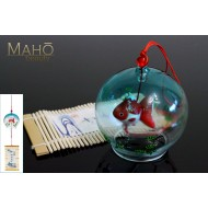 Lovely Japanese Glass wind bell Furin with lovely Goldfish Kingyo