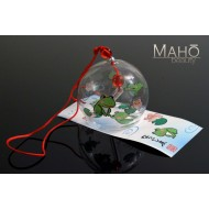 Japanese symbol of summer: Glass wind bell Furin with lovely Frogs picture Kaeru