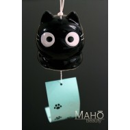 Japanese symbol of summer: Lovely Kuro Neko black cat wind chime FURIN
