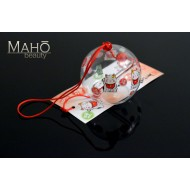 Glass wind bell Furin with lovely Maneki neko lucky cat picture