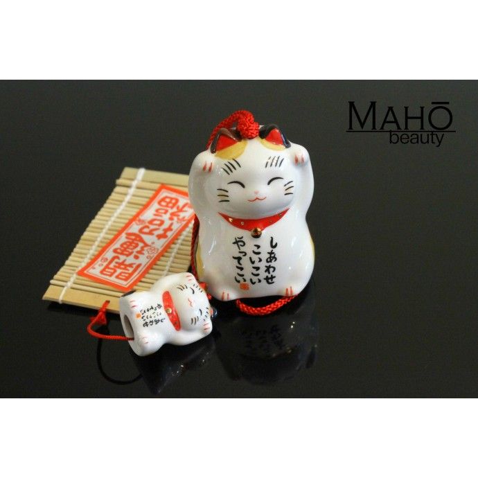 Japanese wind chime furin Mother and child Maneki neko fortune cat  double happiness!