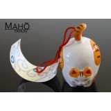 Japanese symbol of summer: Lovely Maneki Neko fortune cat wind chime FURIN ginger