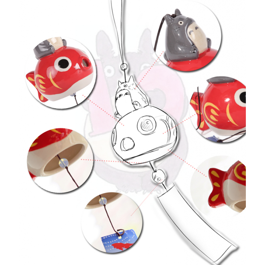 Japanese symbol of summer wind chime furin totoro goldfish for Koi fish wind chime