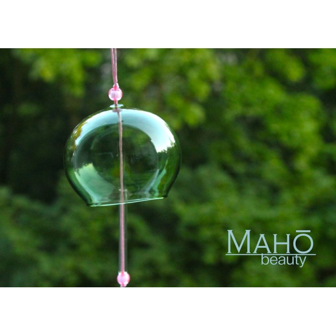 TRADITIONAL JAPANESE SYMBOL OF SUMMER: GREEN GLASS WIND BELL FURIN