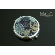 Elegant traditional Japanese kimono pattern hand mirror: Blue