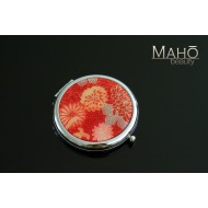 Elegant traditional Japanese kimono pattern hand mirror: Red