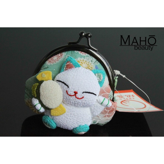 Adorable Japanese Maneki Neko Lucky Cat floral design coin purse with three dimensional cat motif