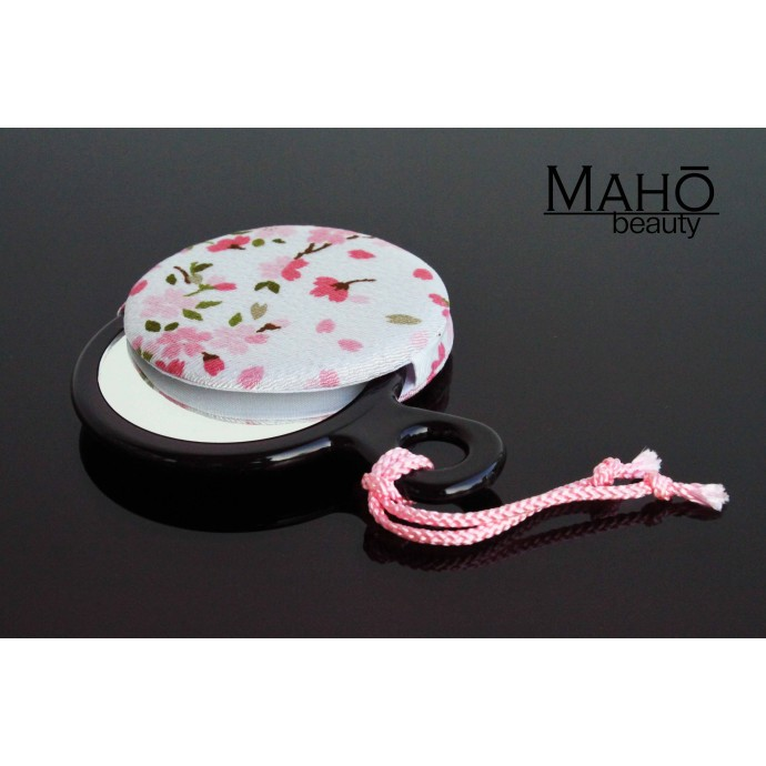 Set of traditional Japanese Sakura pattern hand mirror and pouch bag: white